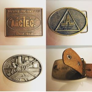 🔥Lot of 3🔥 Electricity & Energy Belt Buckles